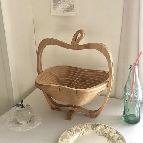 fruits wood tray / 折り畳み フルーツ ウッド トレー バスケット オブジェ 韓国 北欧 雑貨