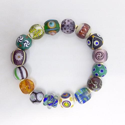 【br004】とんぼ玉ブレスレット Glass beads bracelet