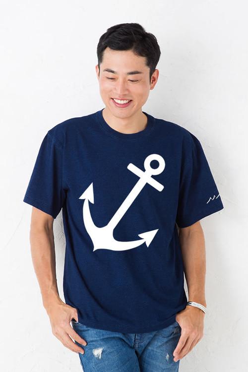 インディゴ Tシャツ メンズ レディース お揃い ペアルック 半袖 碇 イカリ アンカー ビッグ プリント ダークインディゴ
