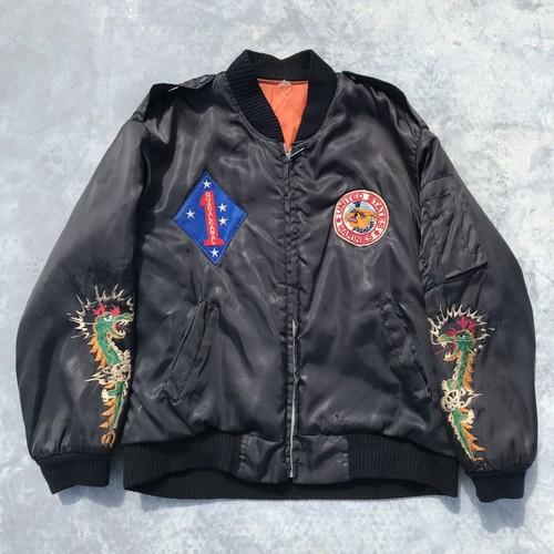 80's USMC WEST PAC ツアージャケット スーベニアジャケット ブラック 第一海兵師団 M位 ミリタリー 希少 ヴィンテージ
