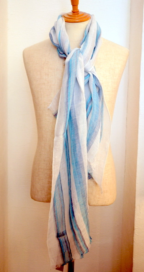 LINEN STRIPE STOLE WHITE*SKY*BLUE