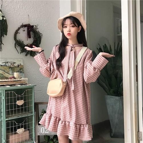 【送料無料】 ガーリーワンピ♡ フレンチレトロ チェック柄 フリルスカート フィッシュテール ワンピース