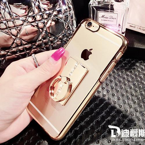 【ゴールド/iphone用】バンカーリング付 ケース ラインストーン J157