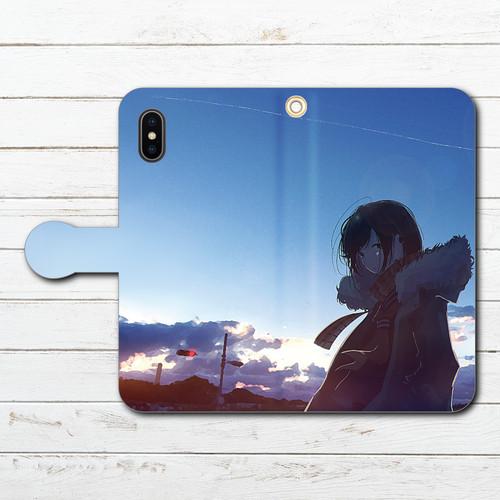 #048-010 iPhoneケース スマホケース 手帳型 全機種対応 女の子 イラスト 青空 おしゃれ エクスペリア iPhoneXS/X iPhone5/6/6s/7/8 ケース 人気 おすすめ Galaxy ARROWS AQUOS HUAWEI Zenfone タイトル:おはよう 作:みふる