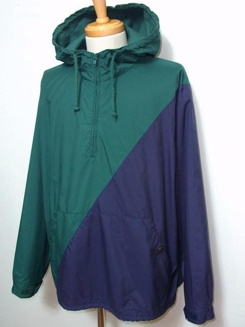 1990's GAP バイカラー2レイヤープルオーバーナイロンパーカ 緑×紺 表記(L)