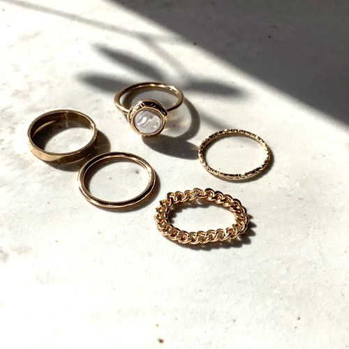 SET Ring gold・pearl