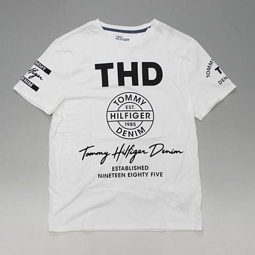 【メール便全国送料無料】TOMMY HILFIGER DENIM トミーヒルフィガーデニム プリントロゴ Tシャツ 両袖プリント ホワイト