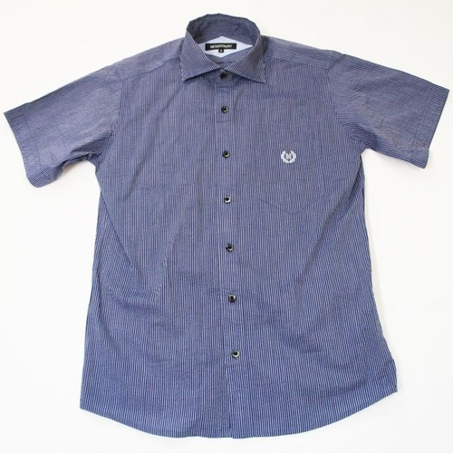 HORIZONTAL COLLARED SS SHIRT  Navy Stripe
