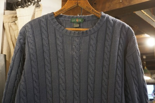 90's J.CREW navy cable cotton Sweater