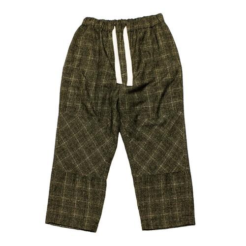 Enharmonic TAVERN Wide Easy Pants Wool Bright Boucle Check -khaki <LSD-AH3P1>