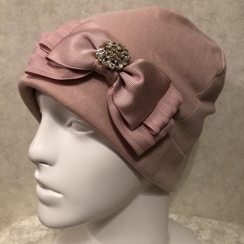 キラキラビジュー付きインターストライプリボンのケア帽子 ピンク