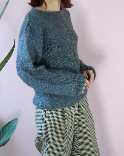 blue loose sweater