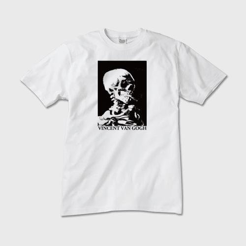 SOUVENI-ART ゴッホ「火のついた煙草をくわえた骸骨」TEE