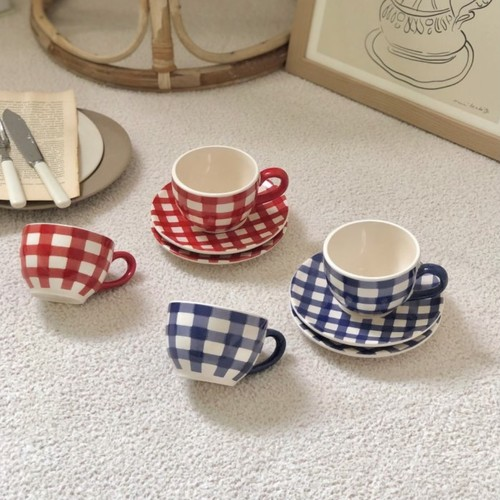 vintage style retro check cup and saucer SET 2colors / チェック ティーカップ ソーサー セット コップ 韓国 北欧 雑貨