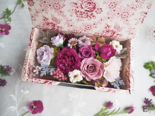Boîte à fleurs<Antique fabric>*アンティーク フラワーボックス*プリザーブドフラワー*花*ギフト*母の日