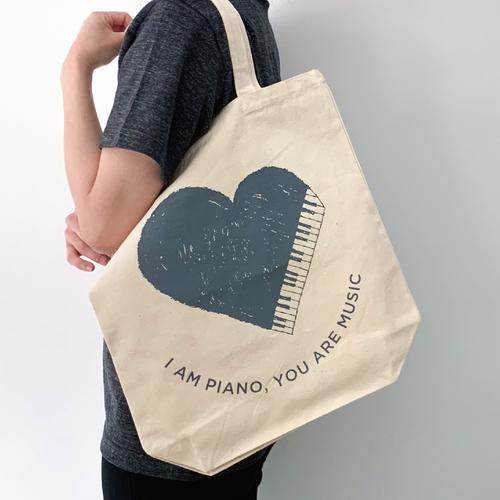 【送料無料】2色展開【トートバッグ】 オリジナルデザイン「ハートピアノ」