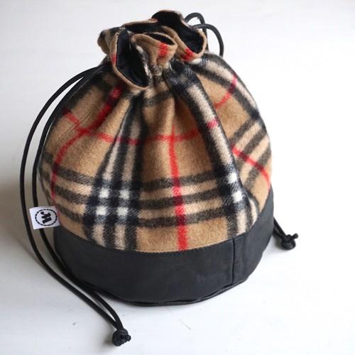 "[Magfacture] ""DRAWSTRING BAG"" Nova Check × Used Leather (Camel)"