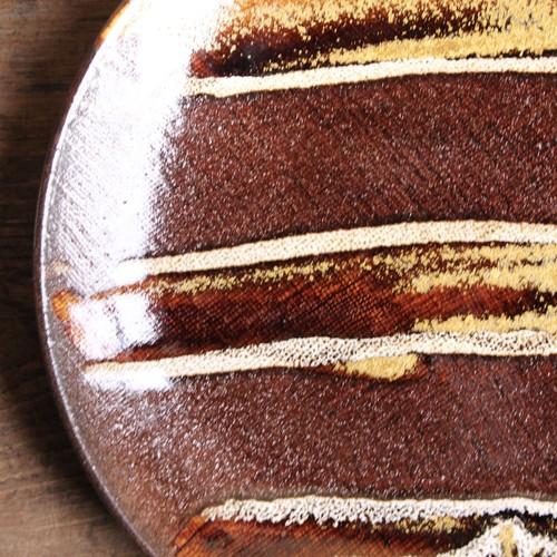 飴釉細網目のずっしり皿