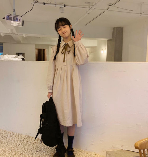 2色 ワンピース リボンタイ ワンピ ひざ丈 長袖 フレア ゆったり ガーリー 春 韓国 オルチャン ファッション