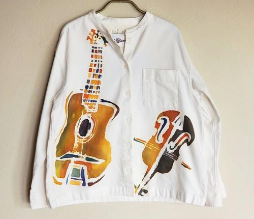 womens スタンドカラーフランネルシャツ ジャンゴとグラッペリ柄オフ色 SHI-0022