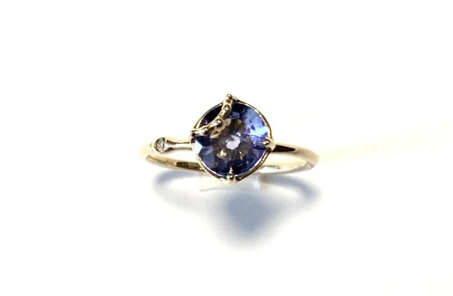 R10-0031-TN【K10 lace w/bd tanzanite ring】