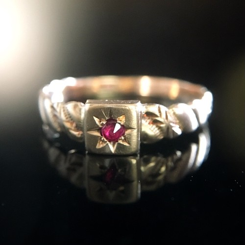Ruby & Gold Victorian Pinky Ring