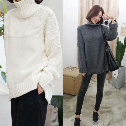編み模様がポイント!無地 ニット☆ トップス 大きめサイズ ゆるカジ ハイネック 長袖 セーター