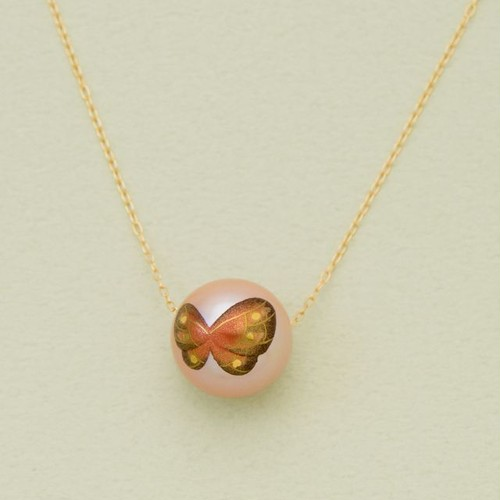 BUTTERFLY ピンクの蝶 12mmネックレス