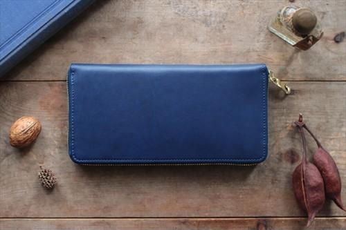 藍染革[migaki] ×オイルレザー ラウンドファスナー長財布