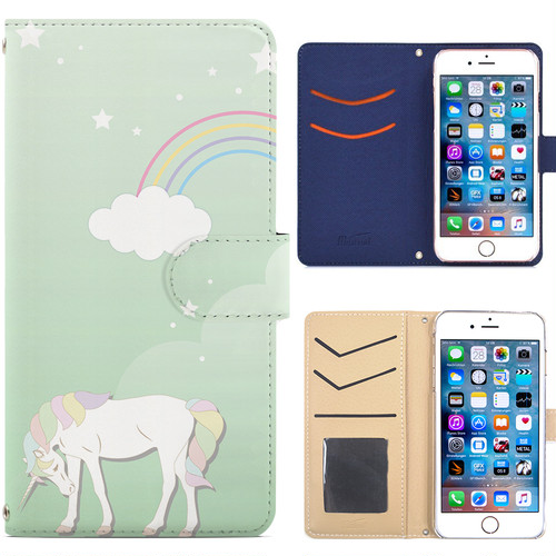 Jenny Desse iPhone 6/6S ケース 手帳型 カバー スタンド機能 カードホルダー グリーン(ブルーバック)