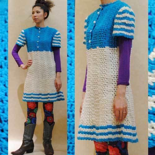S~Lサイズ【アメリカ製古着】ヴィンテージ◆かぎ針編み◆キュートなミニ丈ワンピース
