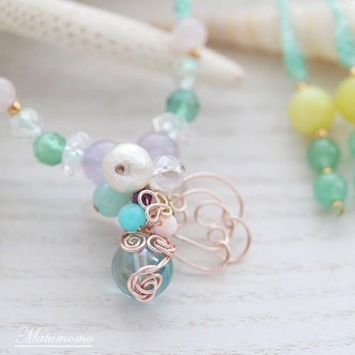 花の妖精(グリーン)マクラメ編みネックレス