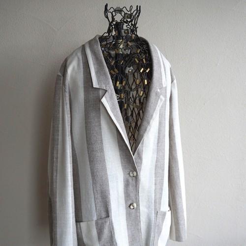 1980's 西ドイツ製 [Goldner Schnitt] リネン・レーヨン テーラードジャケット アイボリー×グレージュ 表記(44)