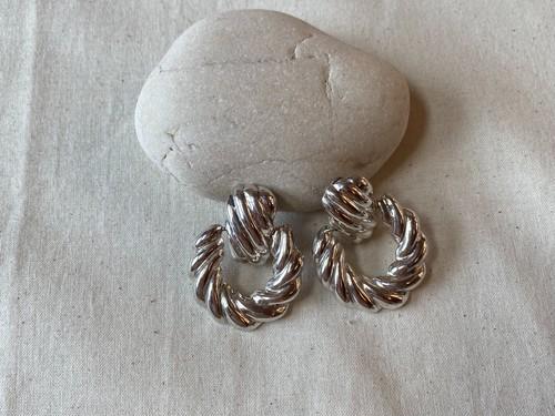 <vintage silver925>round knocker earrings