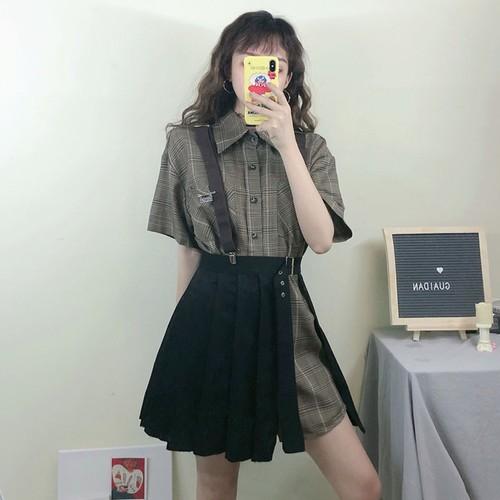 【セットアップ】人気ファッション新作韓国風チェック柄つりスカート+シャツ2点セット