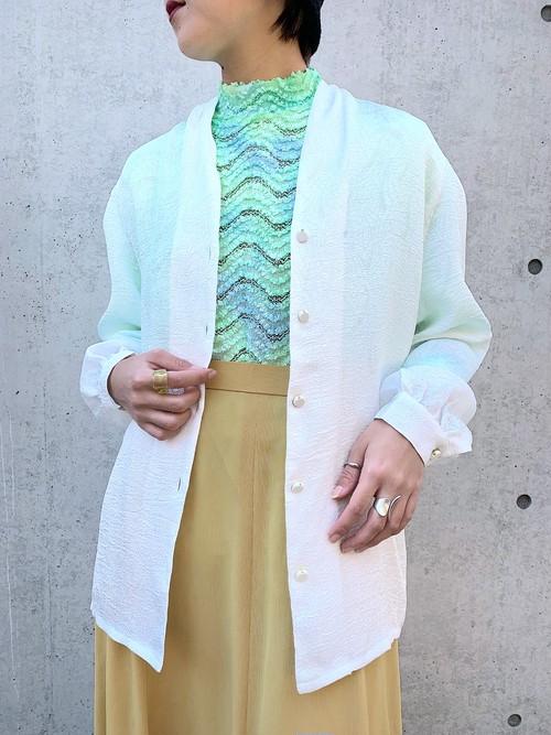 (TOYO) design no collar l/s blouse