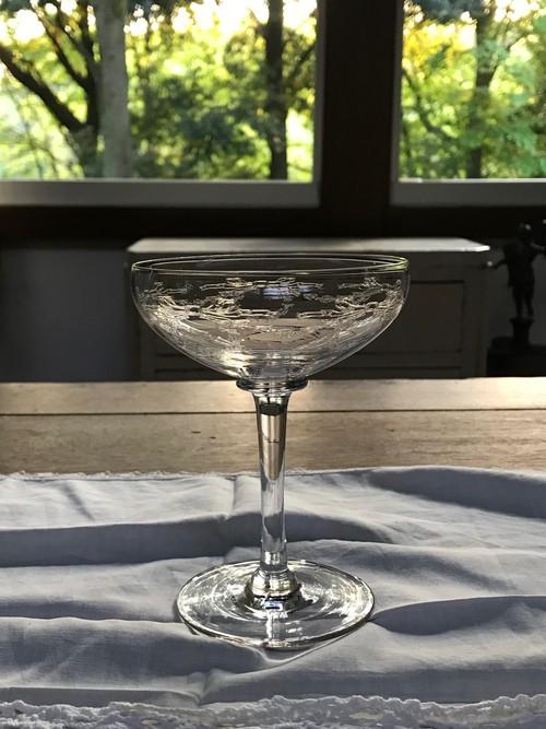 19世紀 フランスアンティーク お花のリース柄 グラス