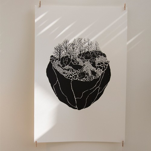 silk screen print on paper