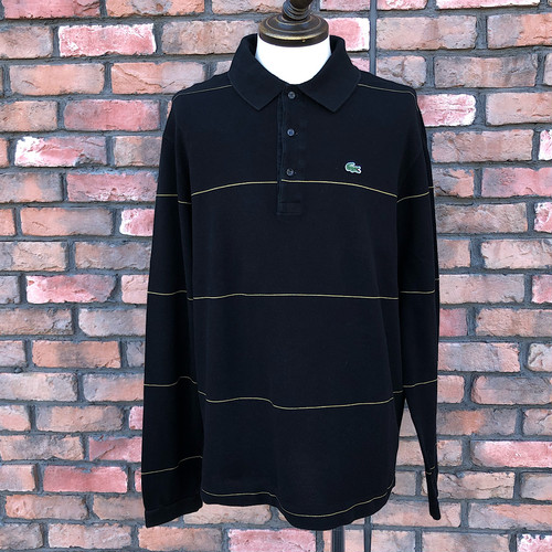 Lacoste Long Sleeve Stripe Polo Shirt Black/Gold Size-8