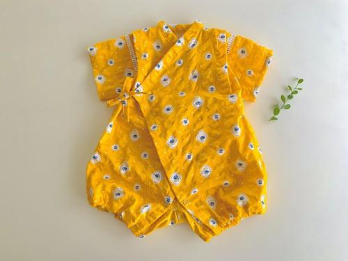 ベビーロンパース甚平黄色花柄80cm