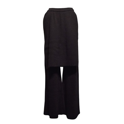 NATALIE KOLYOZYAN / Knit Trousers with Skirt Overlay / Black