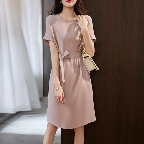 【dress】エレガント気質満点ラウンドネックデートワンピース優しい雰囲気