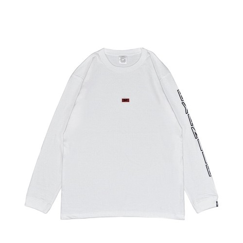EMBROIDERY SMALL LOGO L/S TEE / WHITExRED