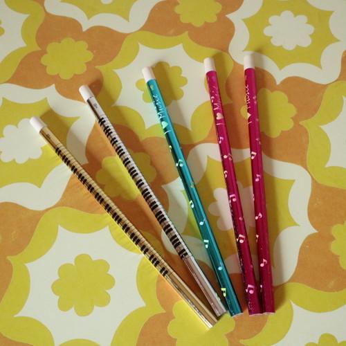 メタリックカラーの鉛筆 HB 5本セット 昭和レトロ