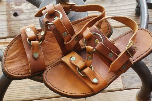 80's handcrafted double-ring leather Sandals II