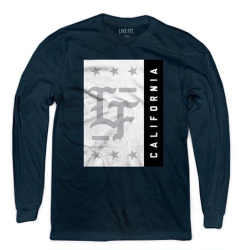 LIVE FIT Stamped Long Sleeve- Navy