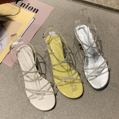 サンダル ラインストーン クロスストラップ 4cm チャンキーヒール ラウンドトゥ 韓国ファッション レディース アンクルストラップ パンプス 痛くない かわいい 靴 歩きやすい