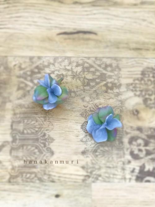紫陽花イヤリング『rain blue』(レインブルー)