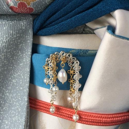 真珠揺れる 華やかな簪 根付け びらびら簪 送料無料