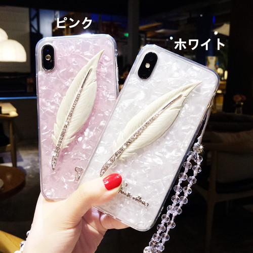 オリジナル iphoneXカバー キラキラ ラインストーン フェザー iphone8/7plusソフト保護カバー 人気ホット 女子愛用 アイフォン6sカバー ストラップ